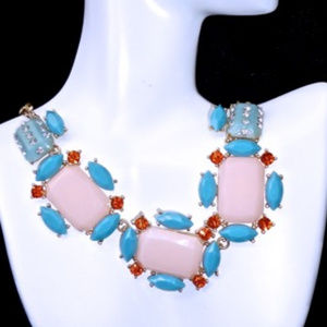 BIB DEIGN FASHION NECKLACE -TURQUOISE/PINK/ORANGE